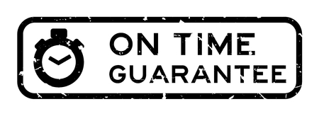 Grunge black on time guarantee word with stopwatch icon square rubber seal stamp on white background