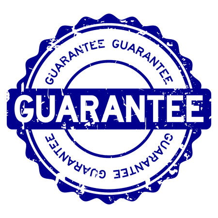 Grunge blue guarantee round rubber seal stamp on white background