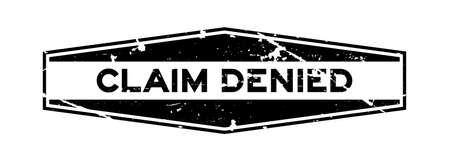 Grunge black claim denied word hexagon rubber seal stamp on white background