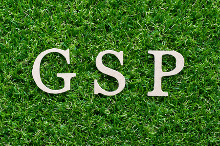 Wood alphabet in word GSP (abbreviation of good storage practice or generalized system of preferences) on artificial green grass background