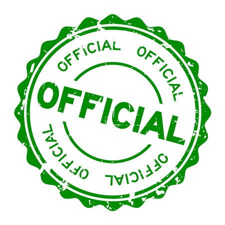 Grunge green official round rubber seal stamp on white background