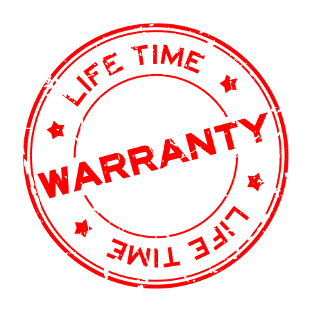 Grunge red warranty life time round rubber seal stamp on white background
