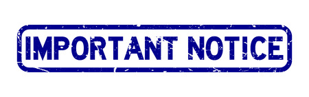 Grunge blue important notice square rubber seal stamp on white background Vektorové ilustrace