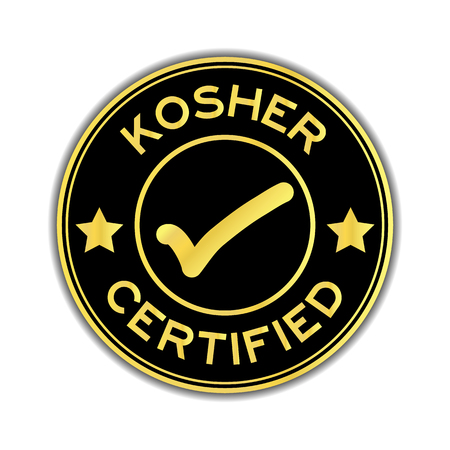 Black and gold color kosher certified word round seal sticker on white background Illustration