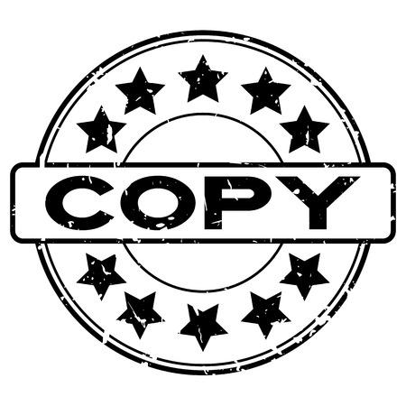 Grunge copia nera parola con icona a forma di stella rotonda timbro di gomma su sfondo bianco