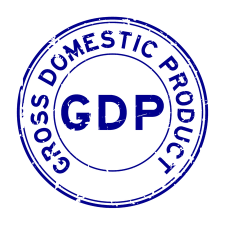 Grunge blue GDP (Gross domestic product) round rubber seal stamp on white background  イラスト・ベクター素材