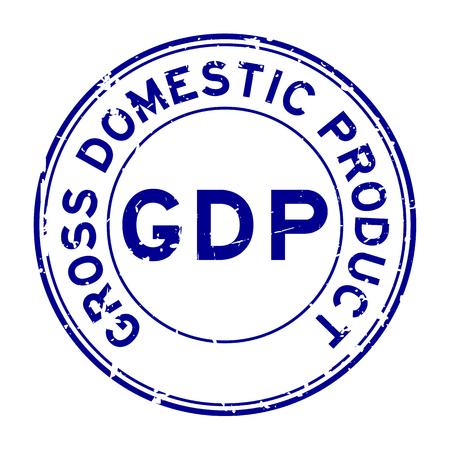 Grunge blue GDP (Gross domestic product) round rubber seal stamp on white background Ilustração