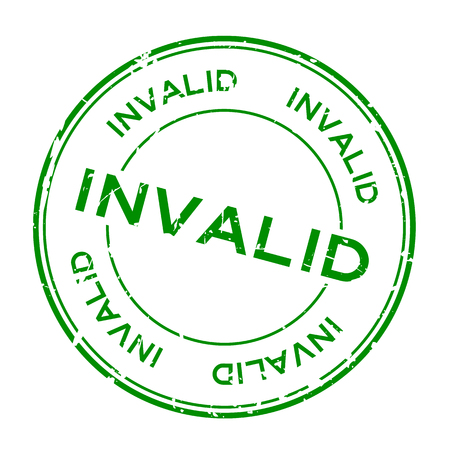 Grunge green invalid word round rubber seal stamp on white background Vettoriali