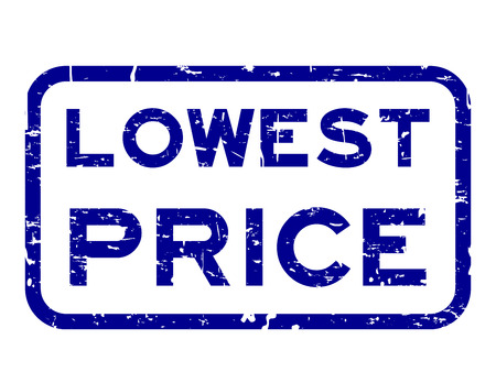 Grunge blue lowest price square rubber seal stamp on white background