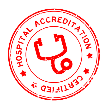 Grunge red hosptial accreditation with stethoscope icon round rubber seal stamp on white background