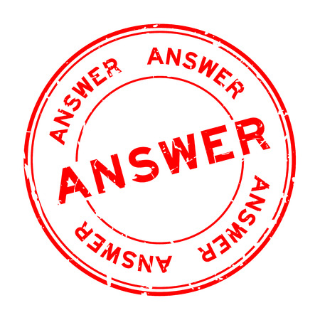 Grunge red answer word round rubber seal stamp on white background