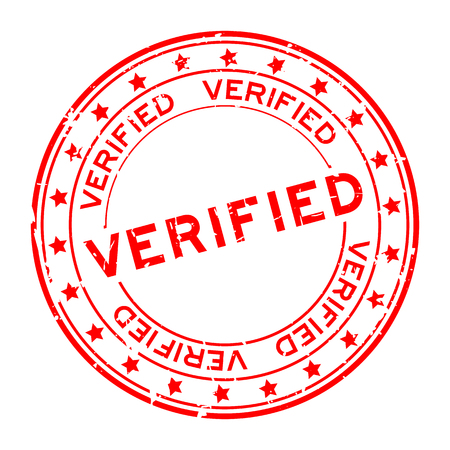 Grunge red verified word with star icon round rubber seal stamp on white background