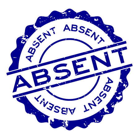 Grunge bleu mot absent rond timbre joint en caoutchouc sur fond blanc
