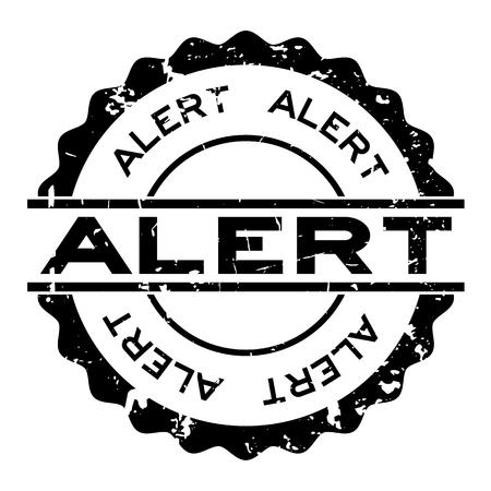 Grunge black alert word round rubber seal stamp on white background