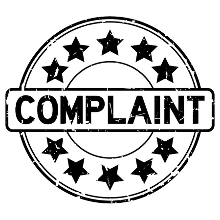 Grunge black complaint word with star icon round rubber seal stamp on white background Vector Illustratie