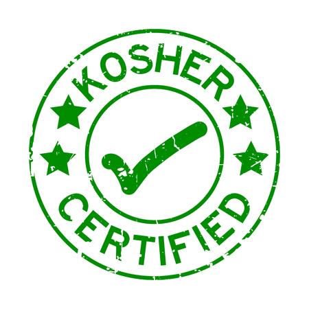 Grunge grün koscher zertifiziertes Wort mit Markierungssymbol runden Siegelstempel auf weißem Hintergrund Vektorgrafik