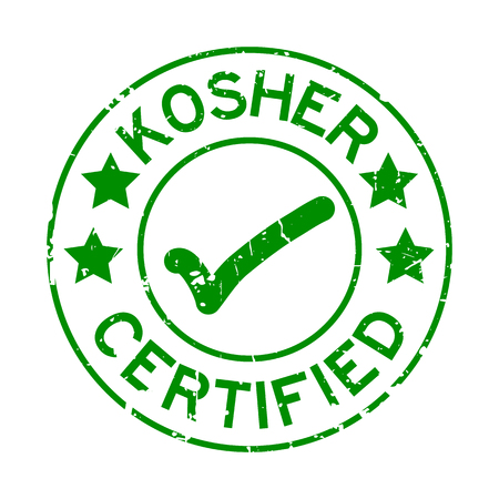 Grunge green kosher certified word with mark icon round rubber seal stamp on white background Vector Illustration