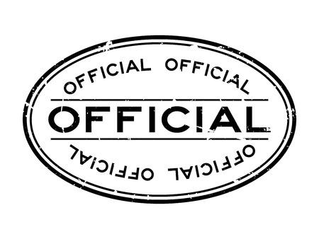 Timbre de joint en caoutchouc ovale mot officiel noir grunge sur fond blanc Vecteurs