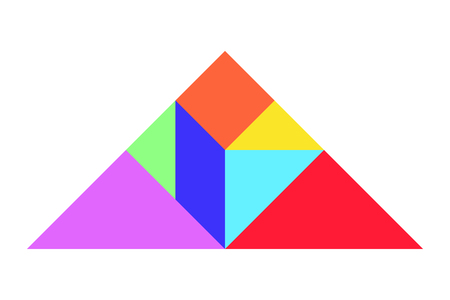 Color tangram puzzle in triangle shape on white background (Vector) 向量圖像