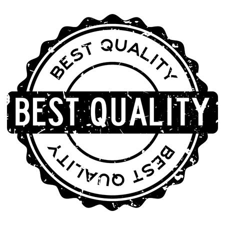 Grunge schwarz beste Qualität Wort runden Siegelstempel auf weißem Hintergrund Vektorgrafik