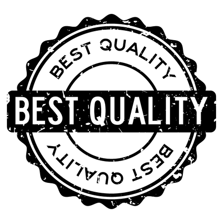 Grunge black best quality word round rubber seal stamp on white background