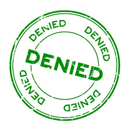 Grunge green denied round rubber seal stamp on white background