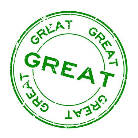 Grunge green great wording round rubber seal stamp on white background