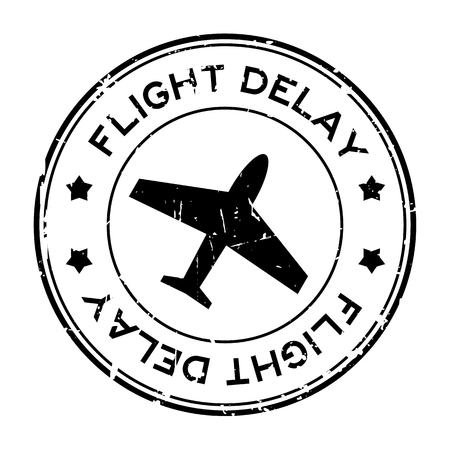 Grunge black flight delay word with airplane icon round rubber seal stamp on white background