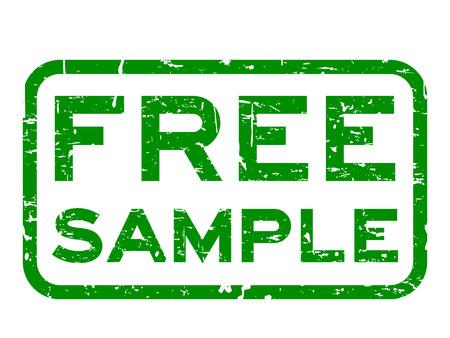 Grunge vert échantillon gratuit timbre joint en caoutchouc carré sur fond blanc Vecteurs