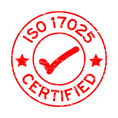 Grunge red ISO 17025 certified with mark icon round rubber seal stamp on white background