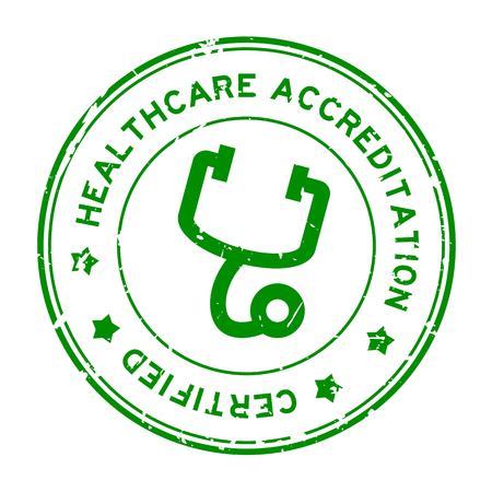 Grunge green healthcare accreditation with stethoscope icon round rubber seal stamp on white background Ilustrace