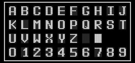 White color of LED digital font on black background (Vector) Vektoros illusztráció