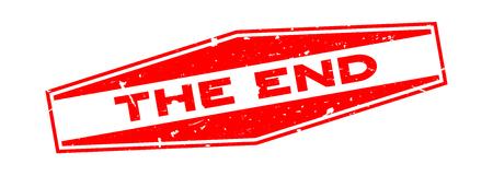 Grunge rojo el sello de sello de goma hexagonal palabra final sobre fondo blanco