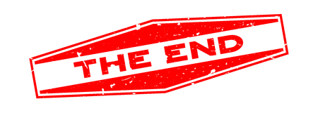 Grunge rot das Ende Wort Sechseck Siegelstempel auf weißem Hintergrund