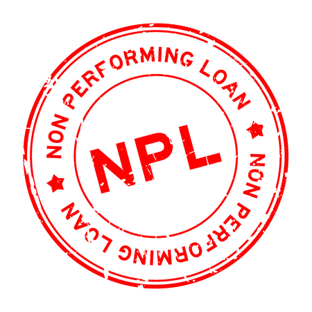 Grunge red NPL word (abbreviation of non performing loan) round rubber seal stamp on white background Çizim