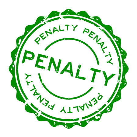 Grunge green penalty word round rubber seal stamp on white background