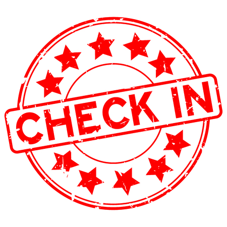 Grunge red check in word with star icon round rubber seal stamp on white background Ilustracje wektorowe