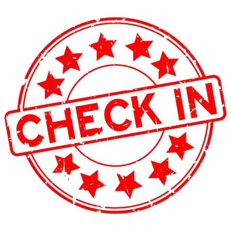 Grunge rojo check in word con icono de estrella redonda sello de sello de goma sobre fondo blanco. Ilustración de vector