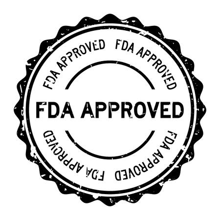 Grunge black FDA approved word round rubber seal stamp on white background  イラスト・ベクター素材