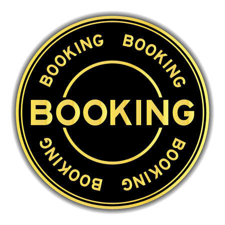 Gold and black color sticker in word booking on white background