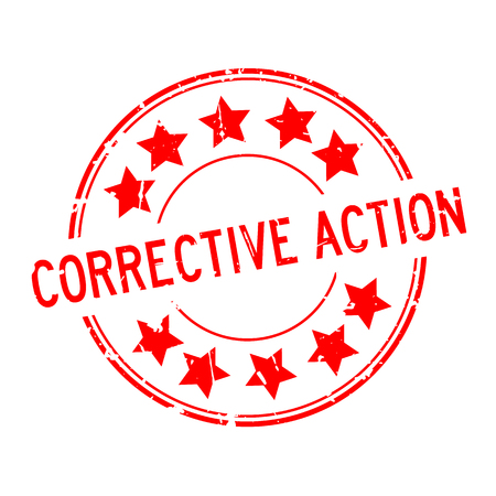 Grunge red corrective action word with star icon round rubber seal stamp on white background Illustration