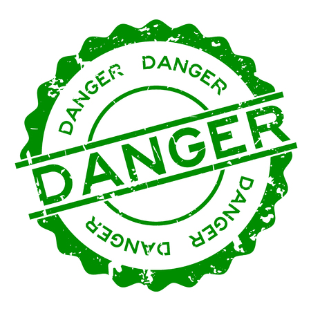 Grunge green danger word round rubber seal stamp on white background Illustration