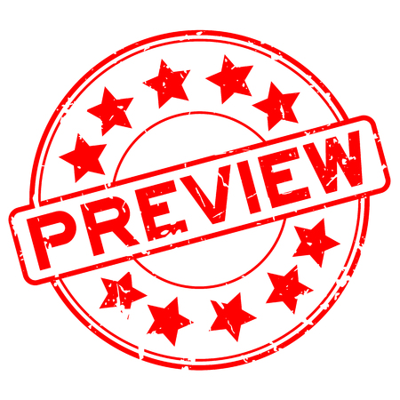 Grunge rotes Gummi-Vorschauwort mit rundem Gummisiegelstempel des Sternsymbols auf weißem Hintergrund