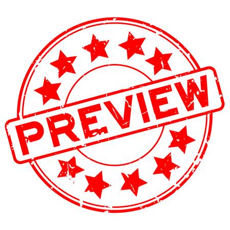 Parola di anteprima in gomma rossa grunge con icona a forma di stella tondo timbro di gomma della guarnizione su priorità bassa bianca
