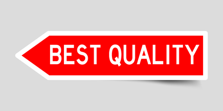 Label sticker in red color arrow shape as word best quality on white background Banque d'images - 108914848