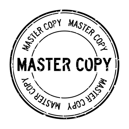 Grunge black master copy word round rubber seal stamp on white background
