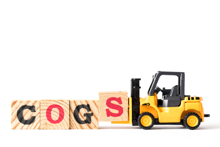 Toy forklift hold letter block s to complete word  COGS (Abbreviation of Cost of goods sold) on white background Stock fotó