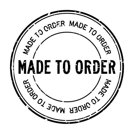 Grunge black made to order word round rubber seal stamp on white background