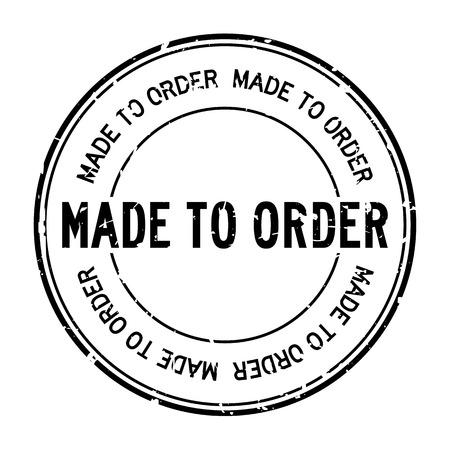Grunge noir fait sur commande mot rond timbre joint en caoutchouc sur fond blanc Vecteurs