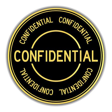 Autocollant de couleur or et noir en mot confidentiel sur fond blanc Vecteurs